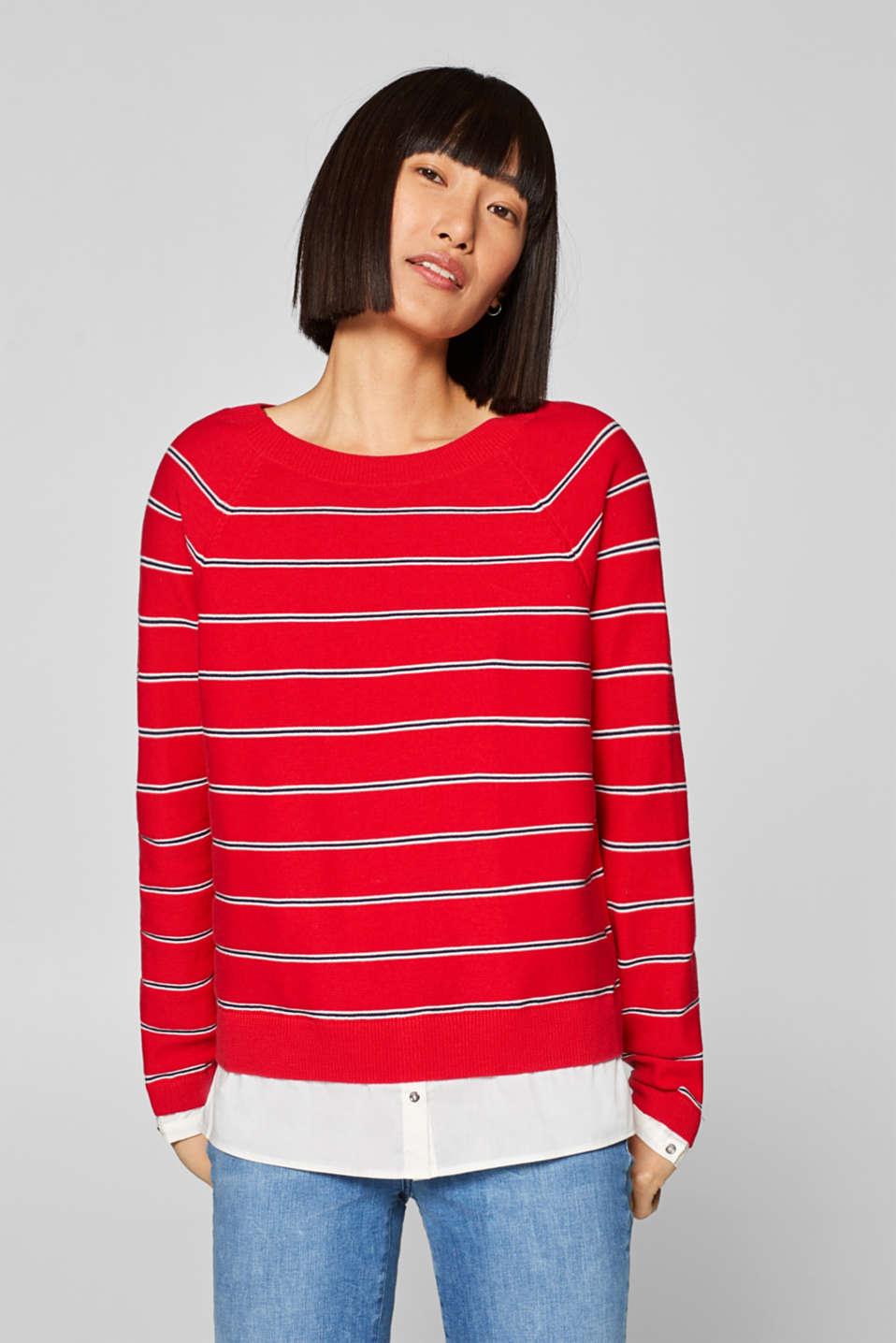 Esprit - Cotton jumper with a layered hem