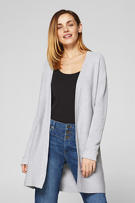2a523031db3614 Long cardigan with ribbed texture stripes