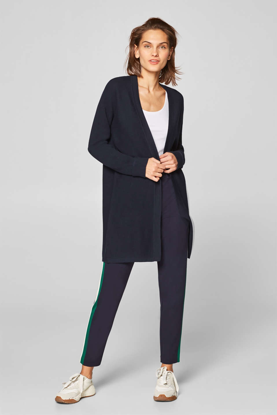 Esprit - Long cardigan with ribbed texture stripes, 100% cotton