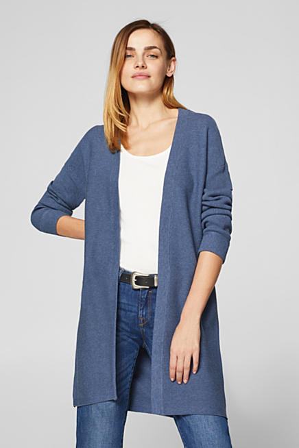 7081929b9b Long cardigan with ribbed texture stripes