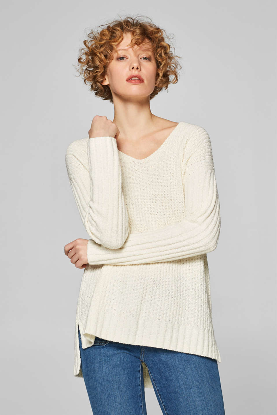 Esprit - Relaxed jumper with a high-low hem
