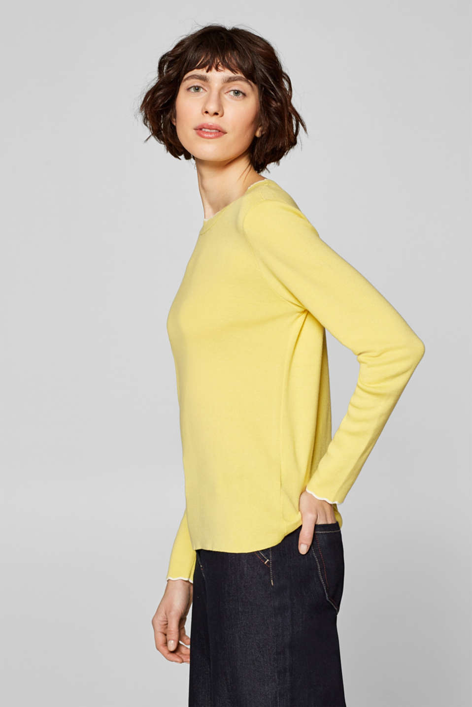 Esprit - Pull-over en fine maille à bords ondulés