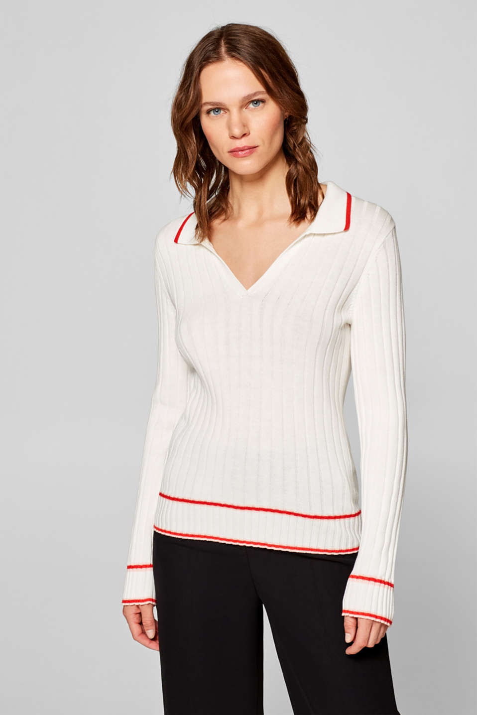 Esprit - Ribbed jumper with an open polo collar