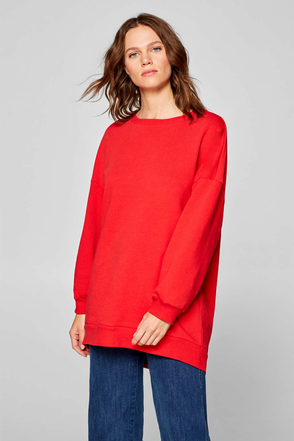 Esprit - Sweatshirt with draped effect, 100% cotton