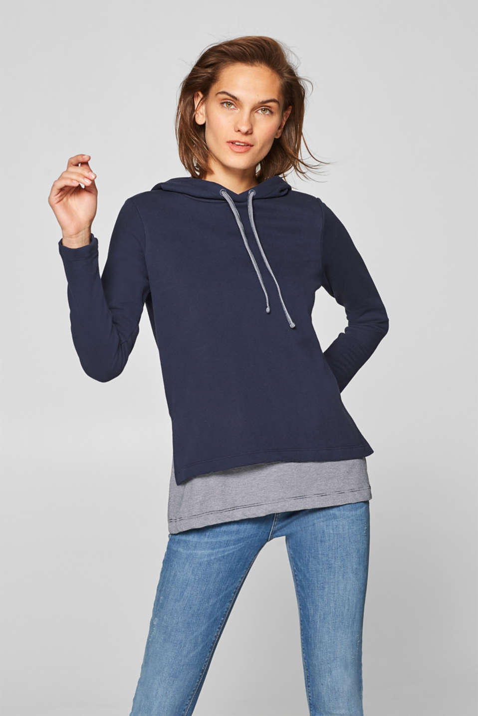 Esprit - Hoodie with a striped layered hem