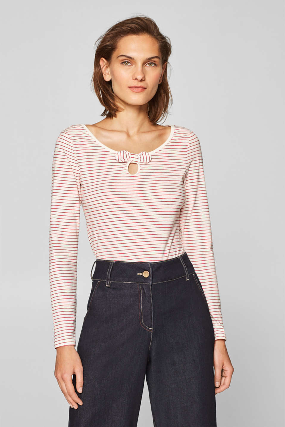 Esprit - Stretch long sleeve top with organic cotton