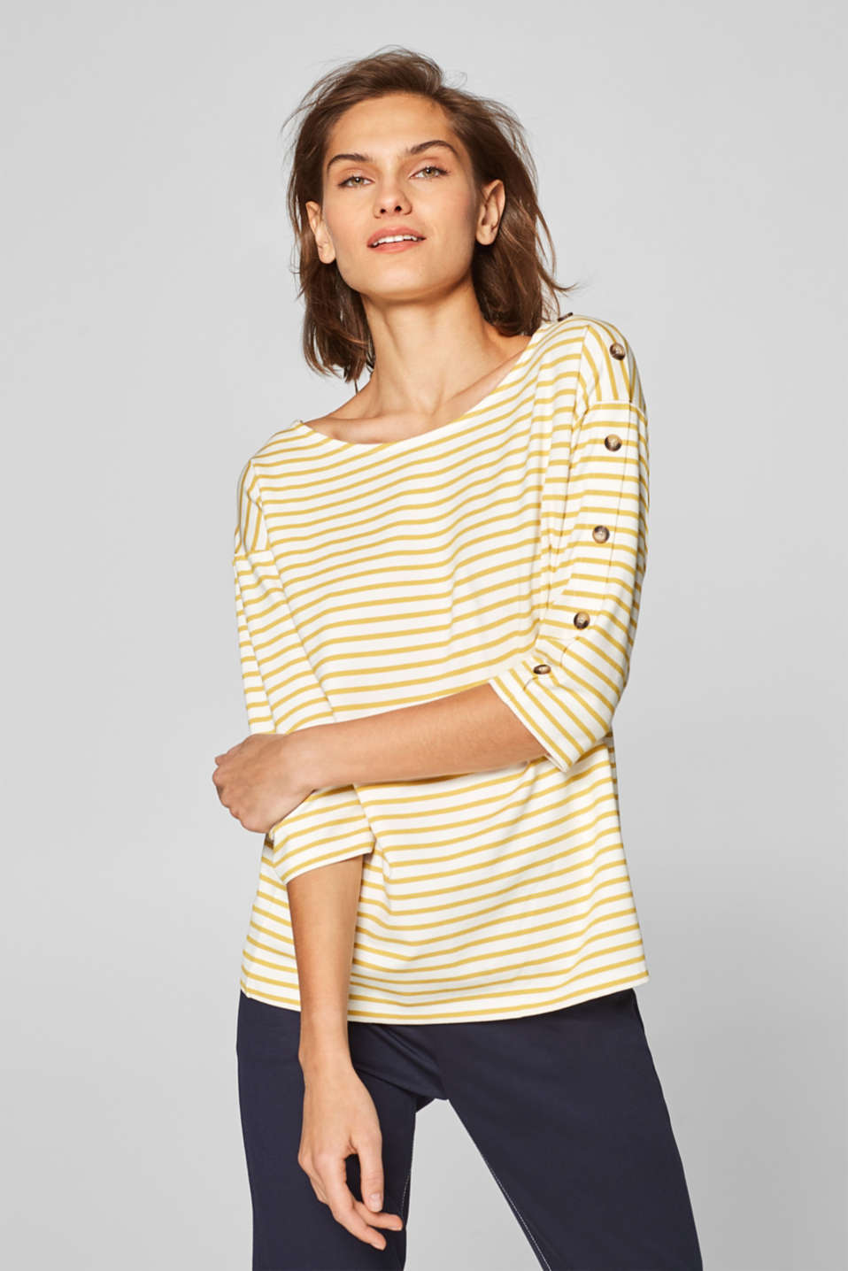 Esprit - Striped stretch T-shirt with button plackets