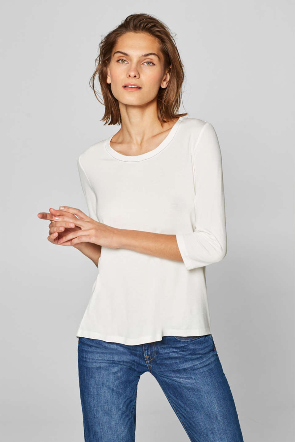 Esprit - Stretch T-shirt with contrasting stitching
