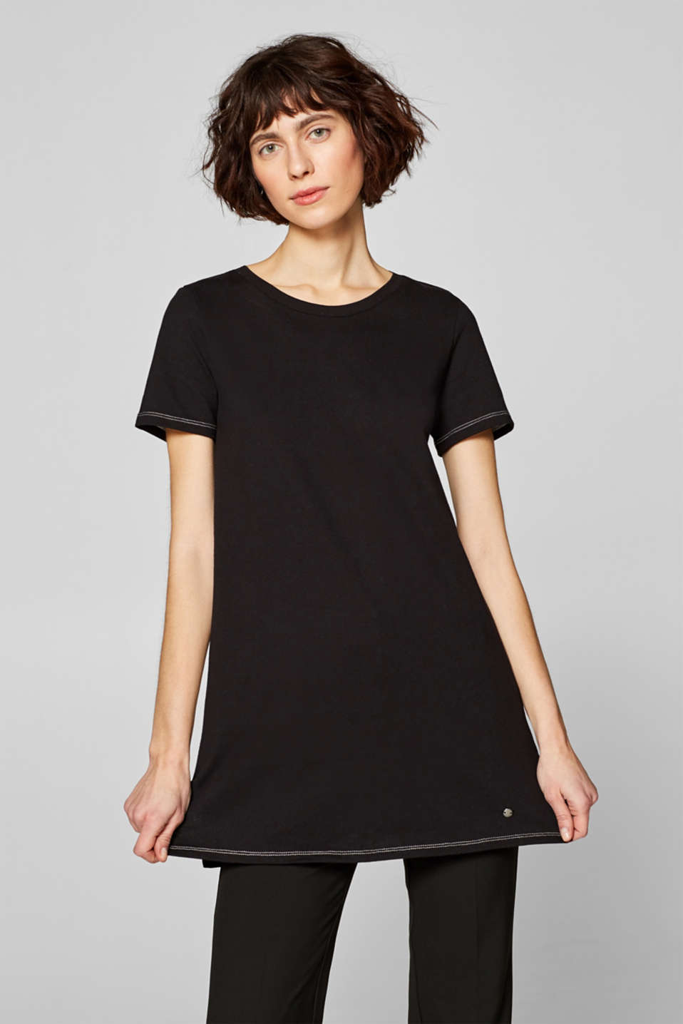 Esprit - Long top with contrasting stitching, 100% cotton