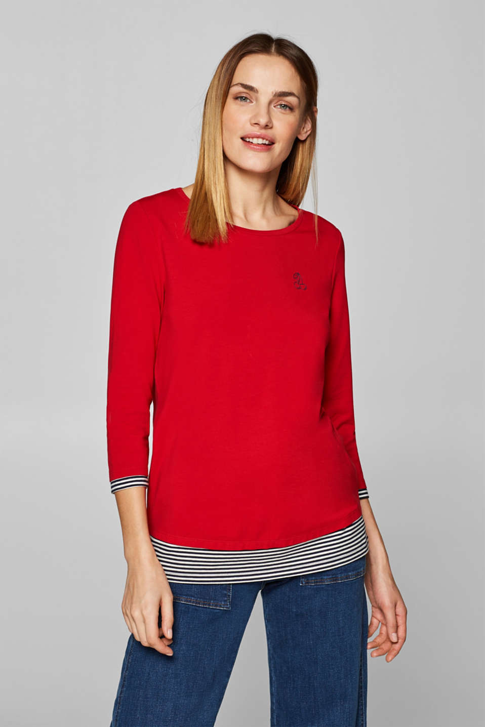 Esprit - Layered stretch top with striped details