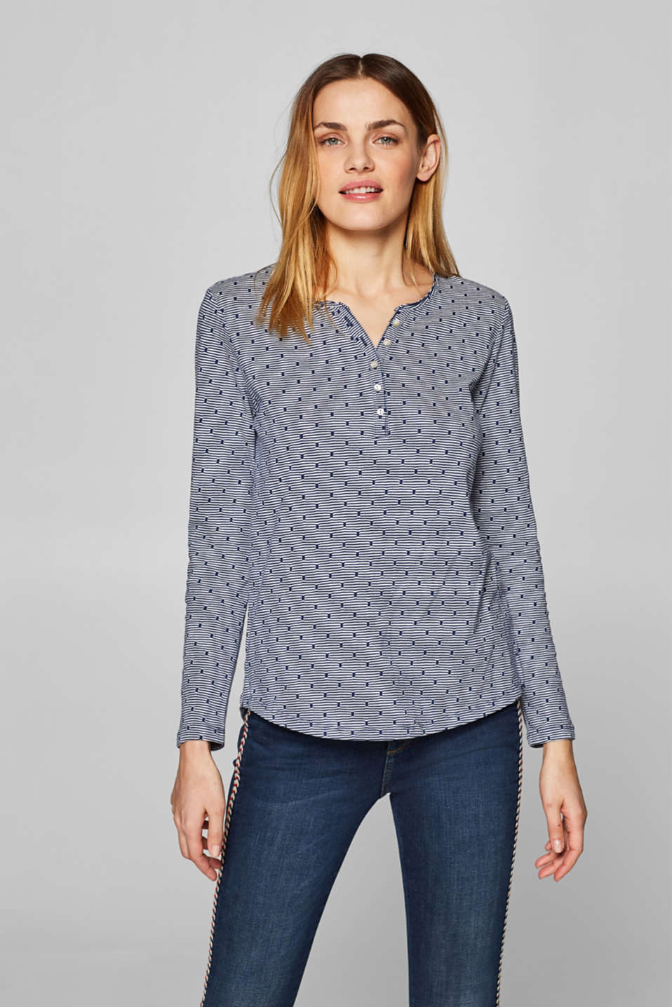 Esprit - Printed long sleeve Henley top, 100% cotton