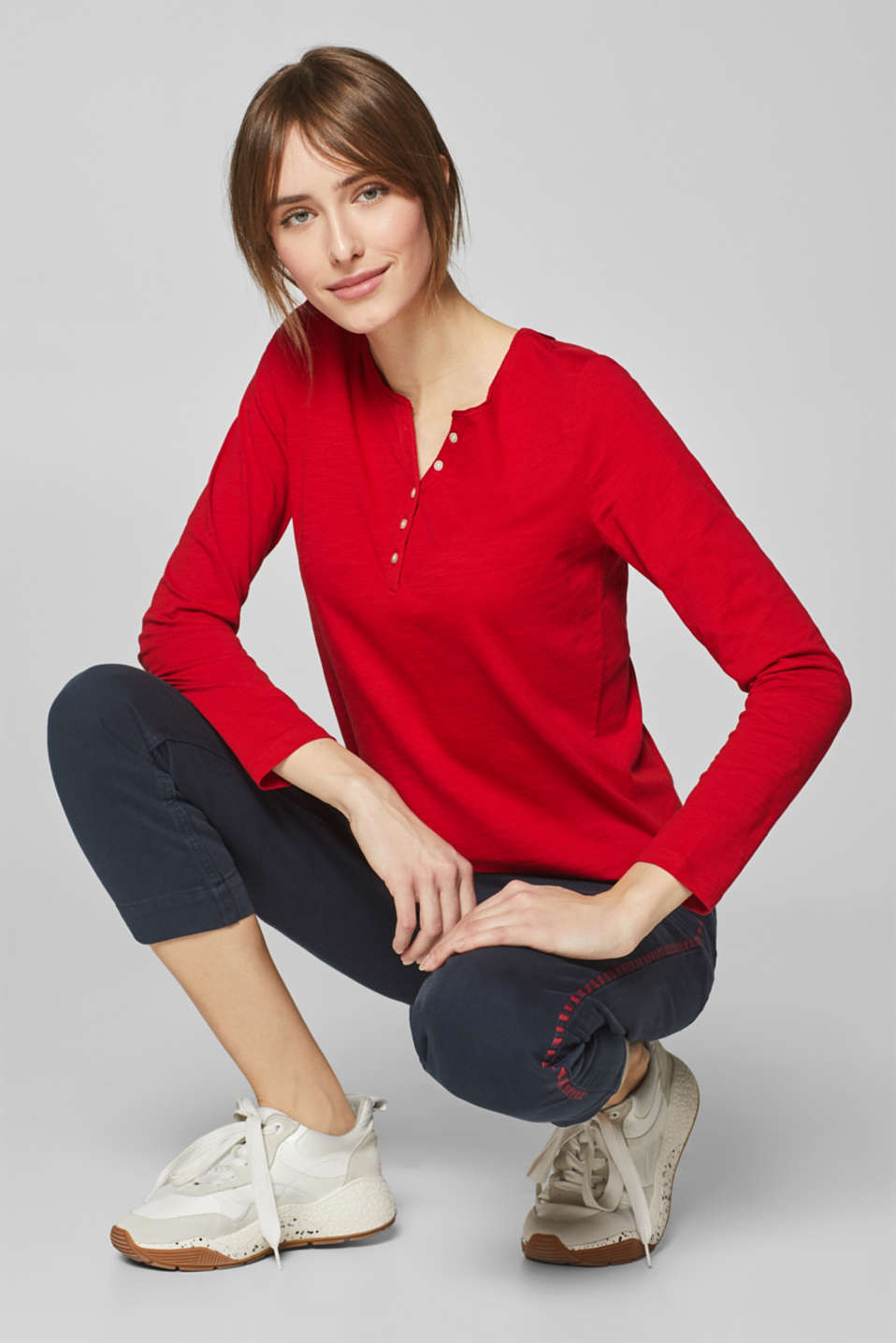 Esprit - Slub jersey long sleeve top, 100% cotton