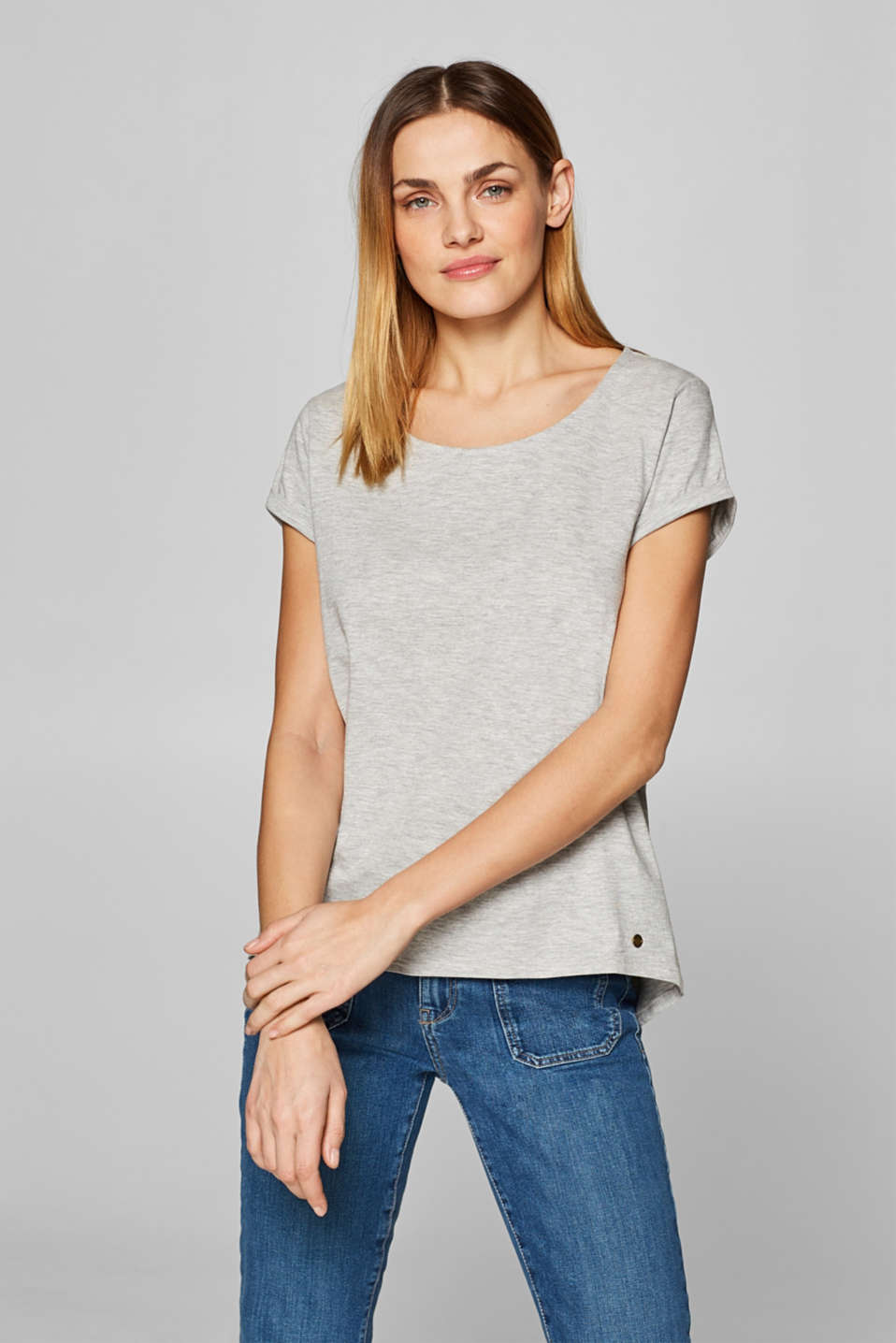 Esprit - Casual melange T-shirt containing organic cotton