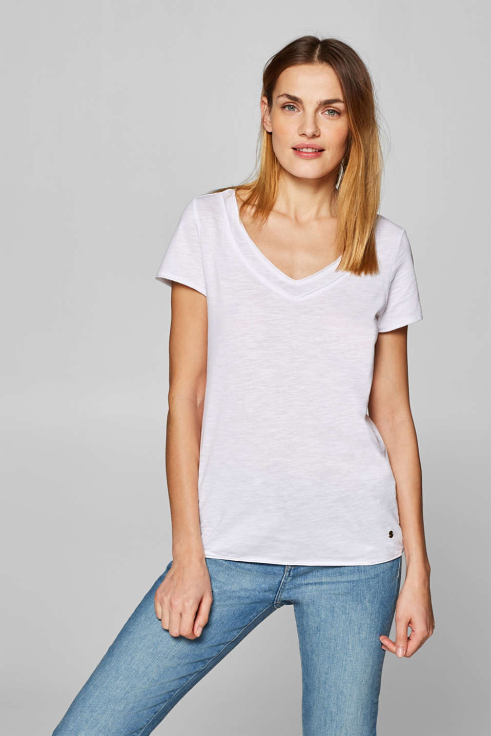 Esprit - V-neck T-shirt with organic cotton, 100% cotton