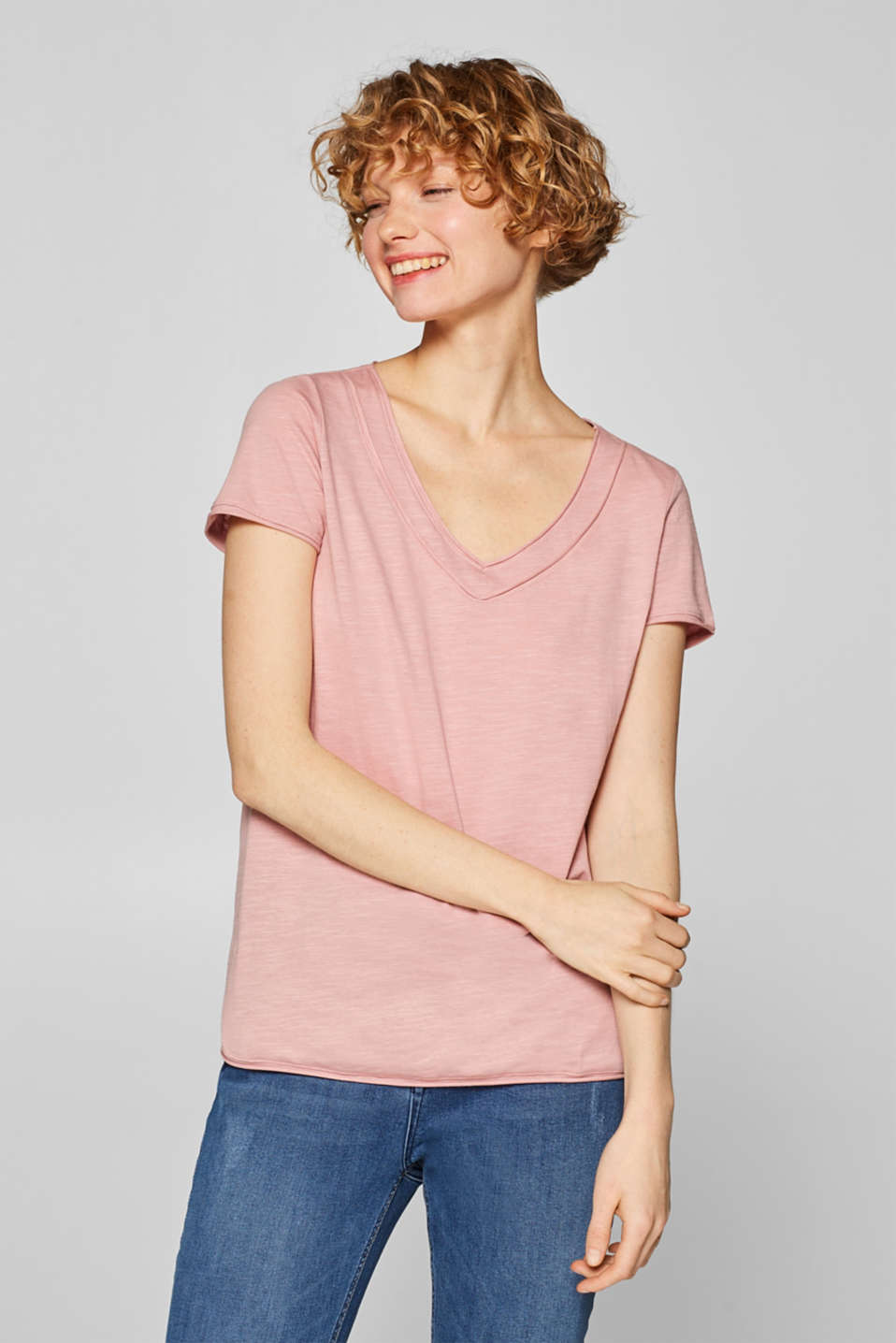 Esprit - V-Neck-Shirt mit Organic Cotton, 100% Baumwolle
