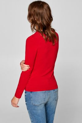 e99a1d4be5e9f5 Esprit - Long sleeve stretch top with a square neckline at our ...