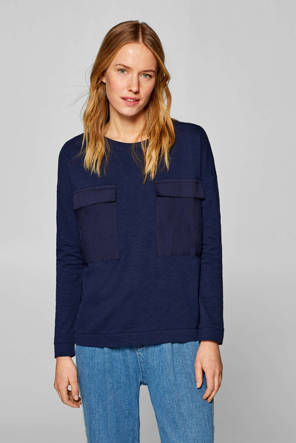 Esprit - Long sleeve top with fabric details, 100% cotton