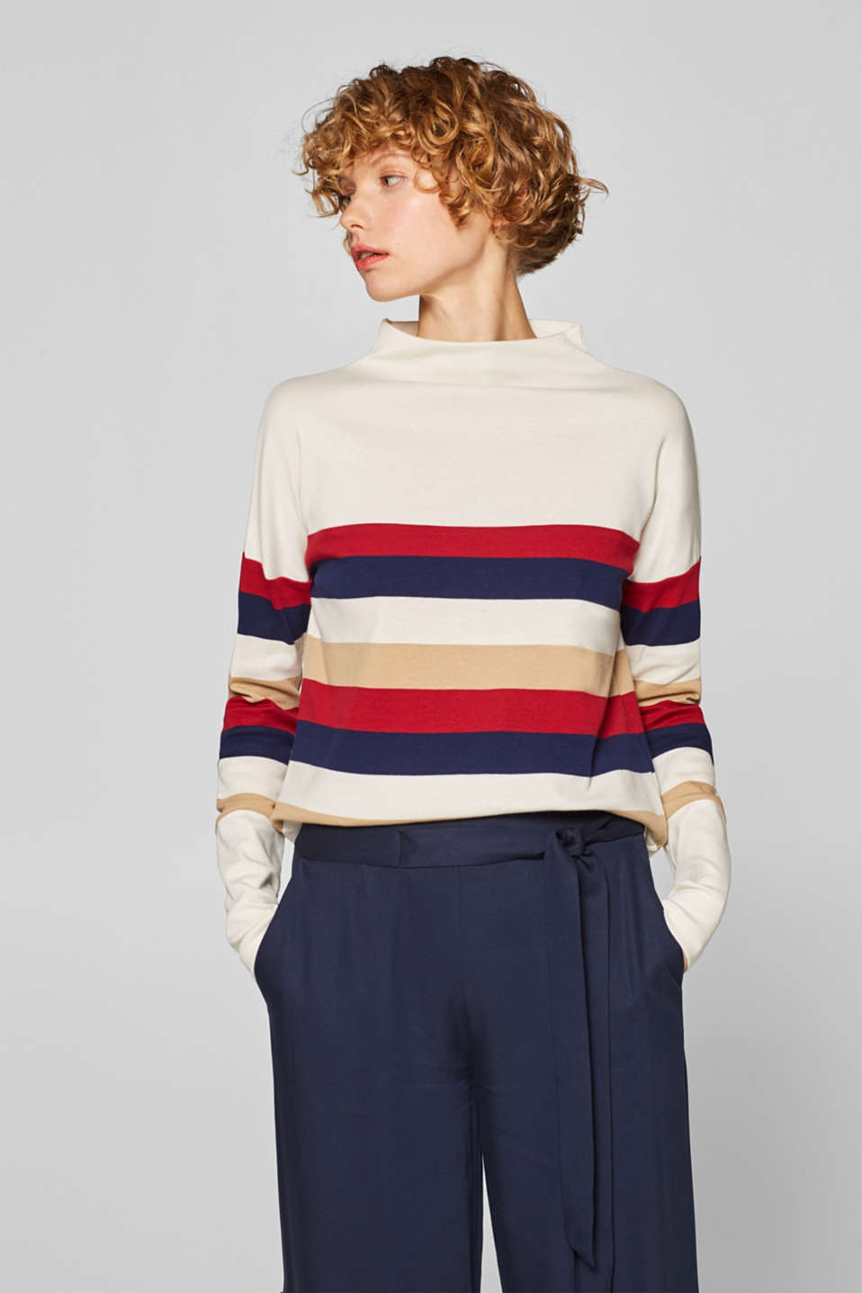 Esprit - Turtleneck long sleeve top with block stripes