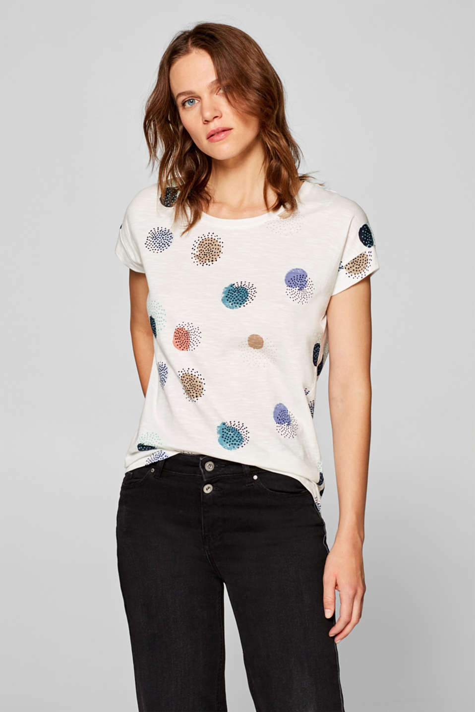 Esprit - Slub T-shirt with print, 100% cotton