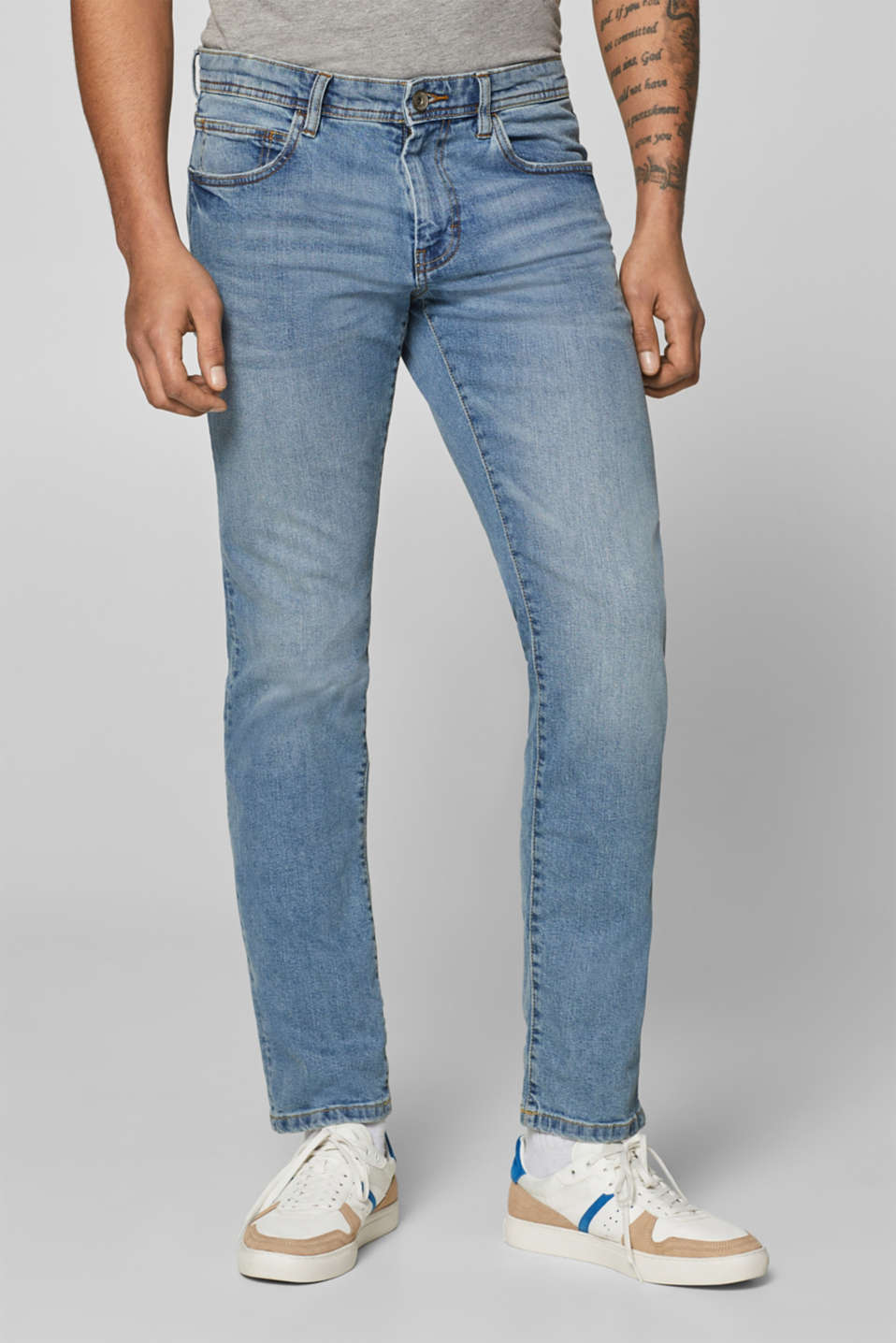 Esprit - Stretchjeans met washed-out effect