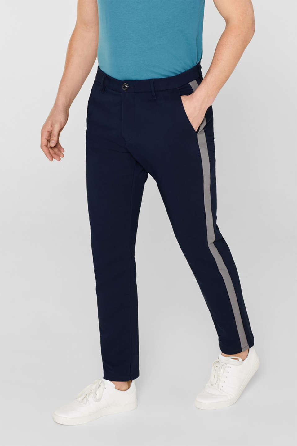 Esprit - Stretch trousers with tuxedo stripes