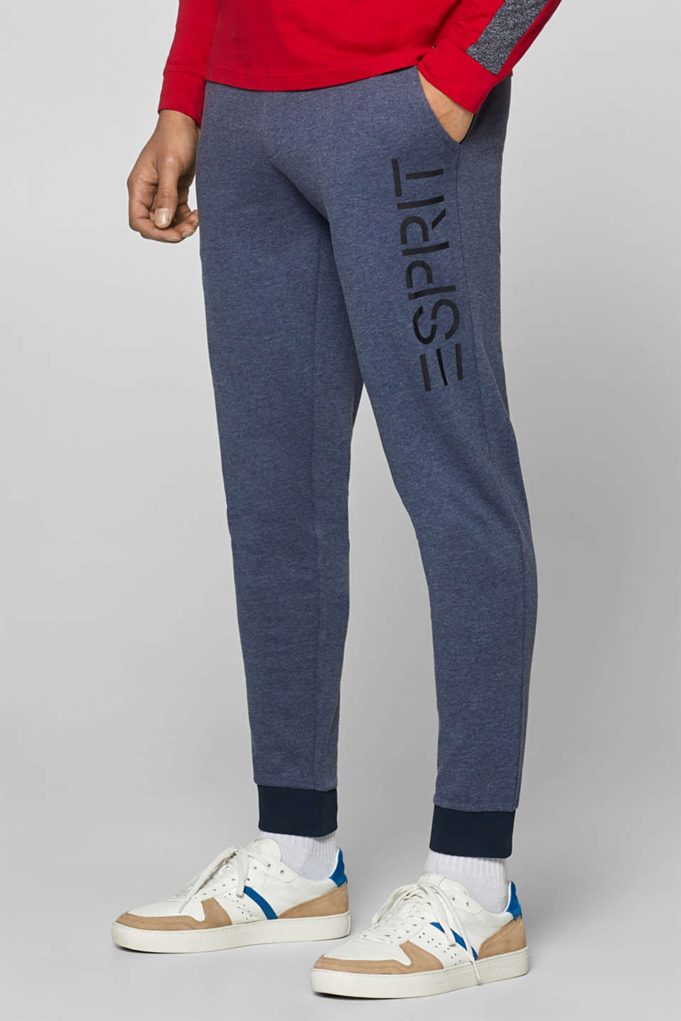 Esprit - Tracksuit bottoms with a logo print, in blended cotton