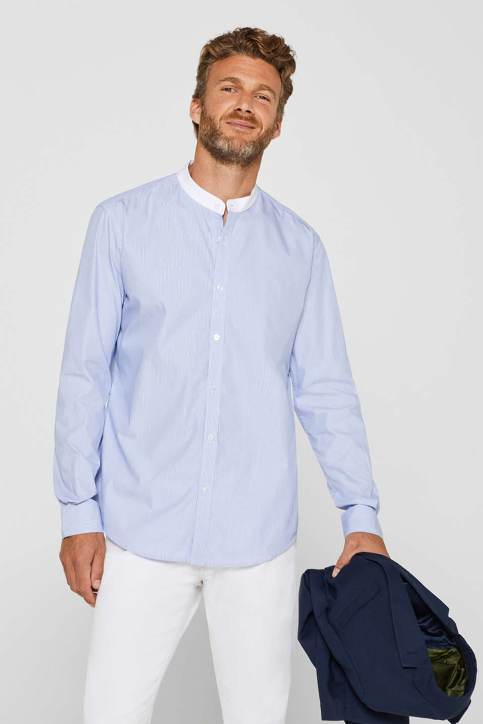 Esprit - Band collar shirt with COOLMAX® technology