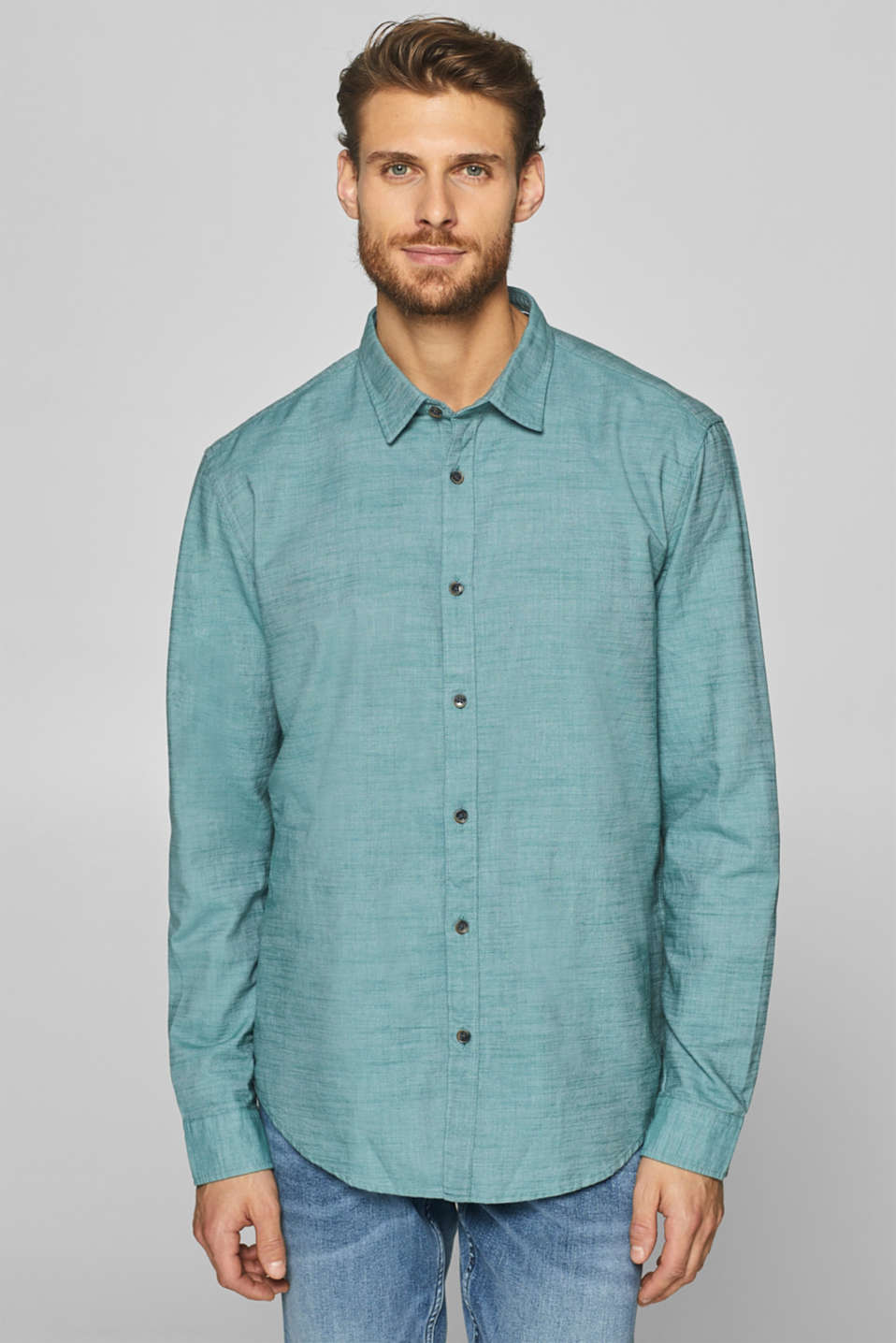 Esprit - Chambray shirt in 100% cotton