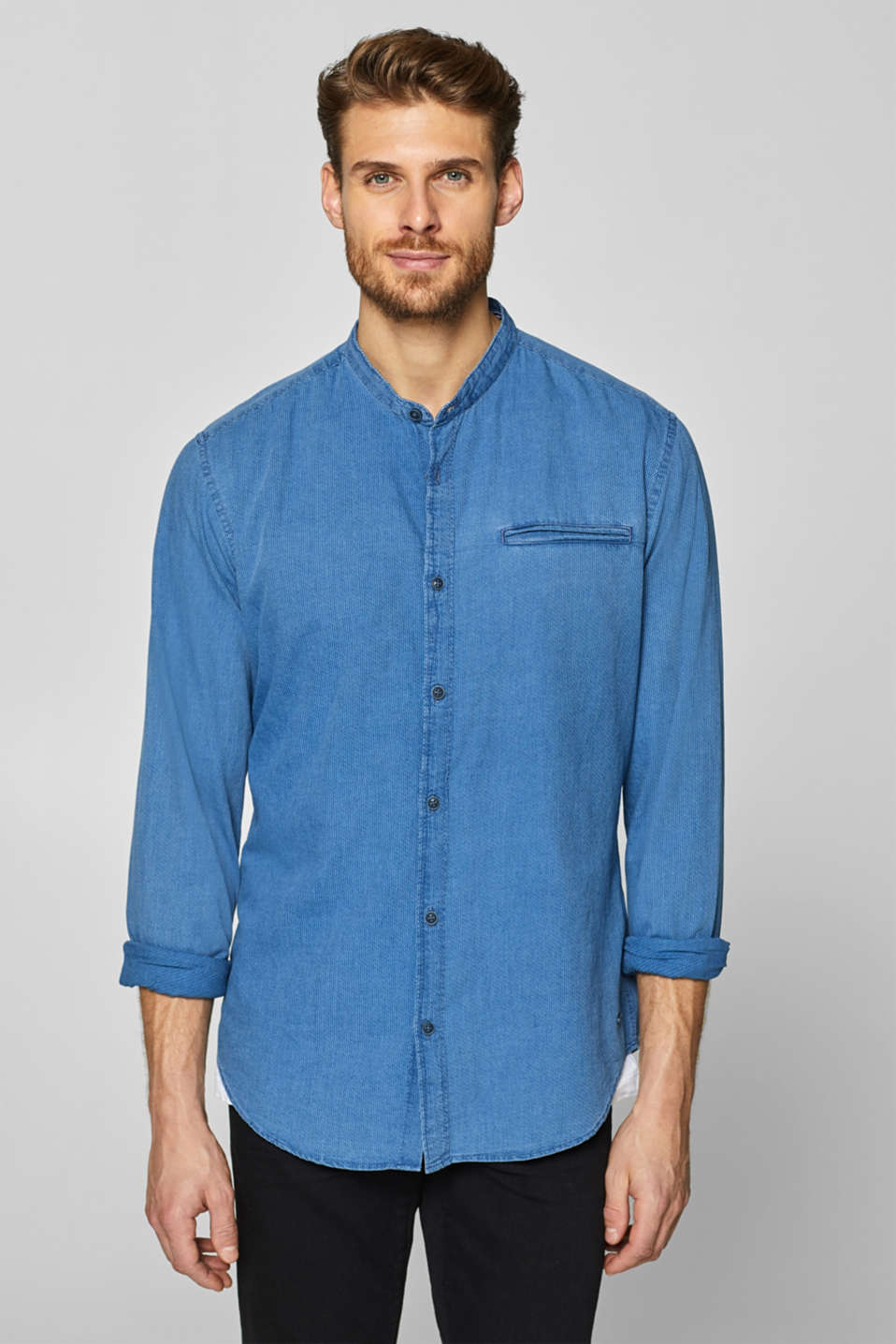 Esprit - Indigo shirt with a stand-up collar, 100% cotton