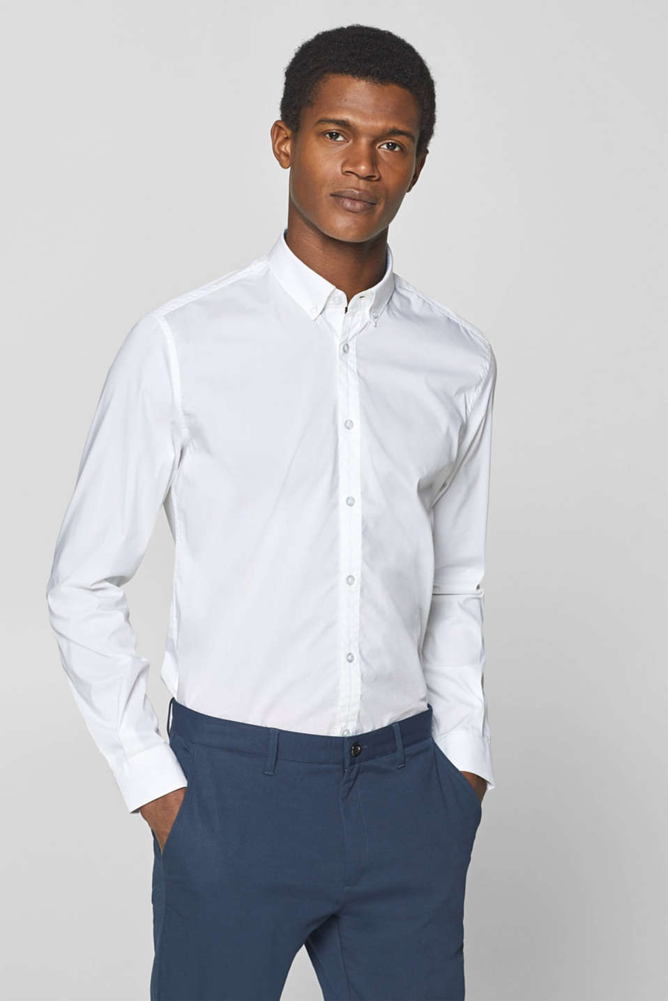 Esprit - Shirt with a button-down collar and COOLMAX®
