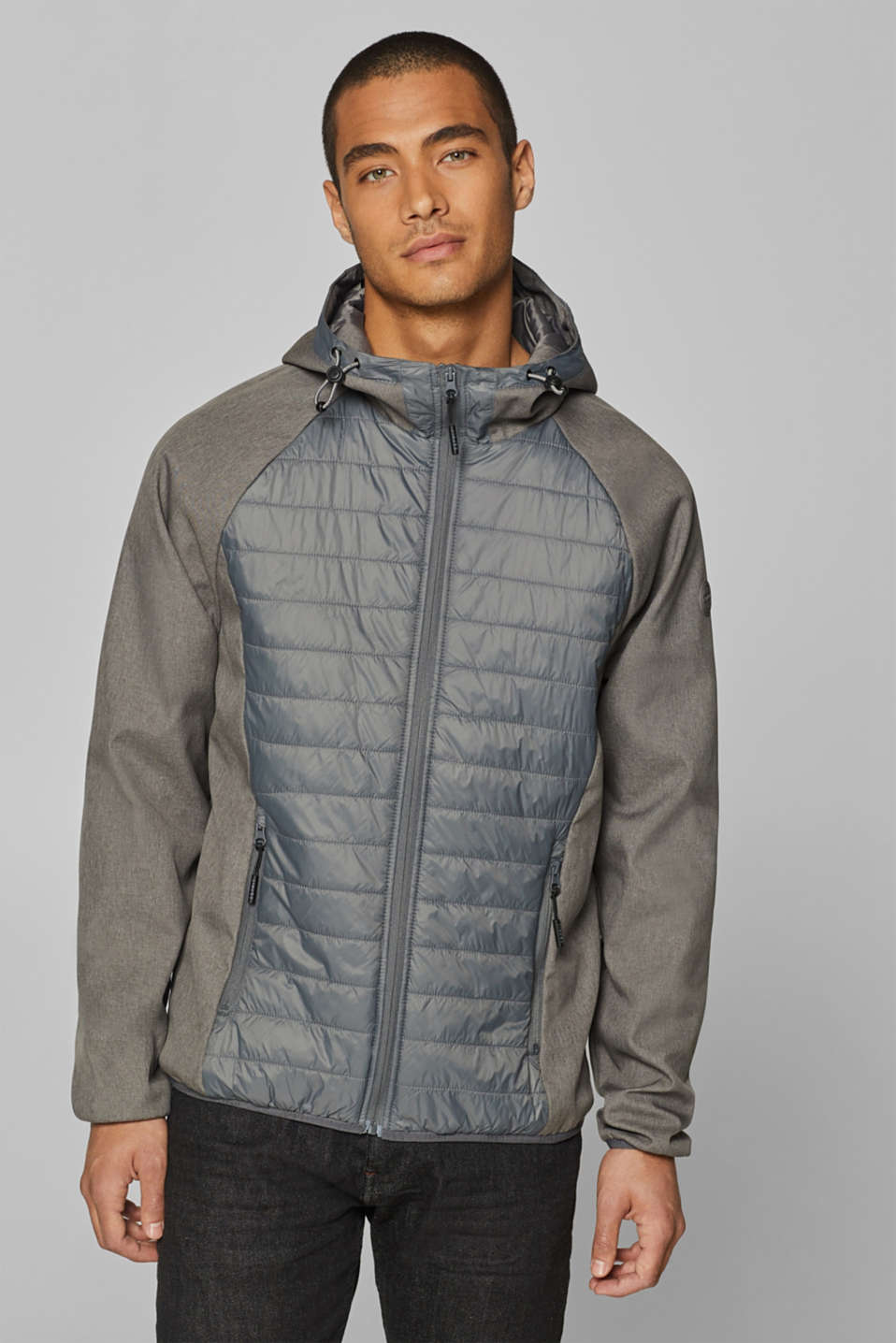 Esprit - Mixed material hooded jacket
