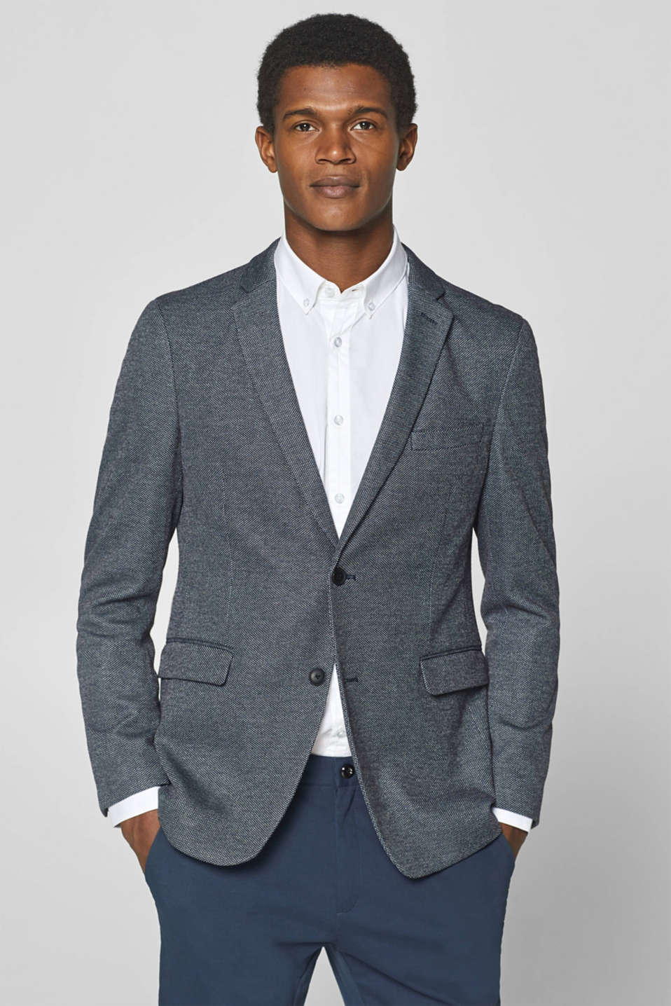 Esprit - 2-tone tailored jacket with a fine texture