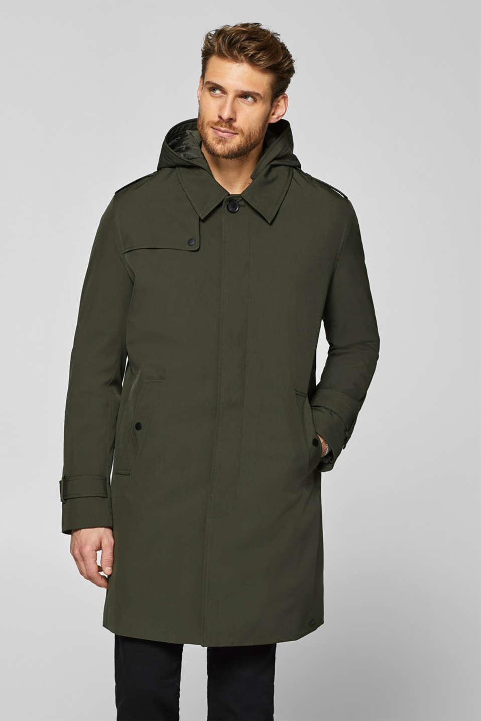 Esprit - Trench coat with an adjustable hood