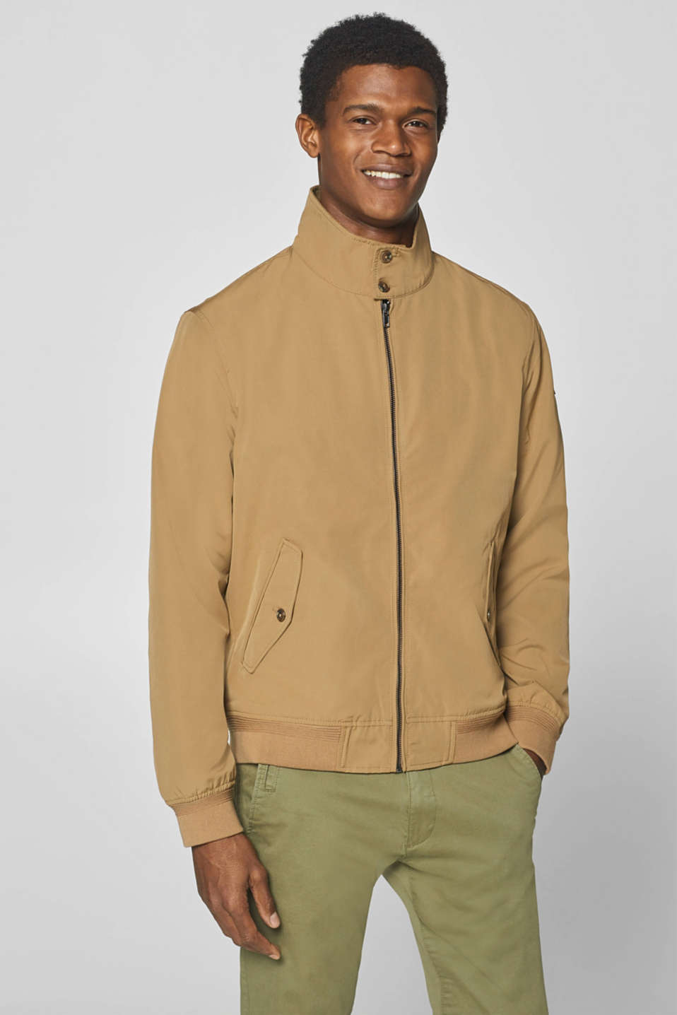 Esprit - Bomber jacket with a corduroy trim and rib cuffs