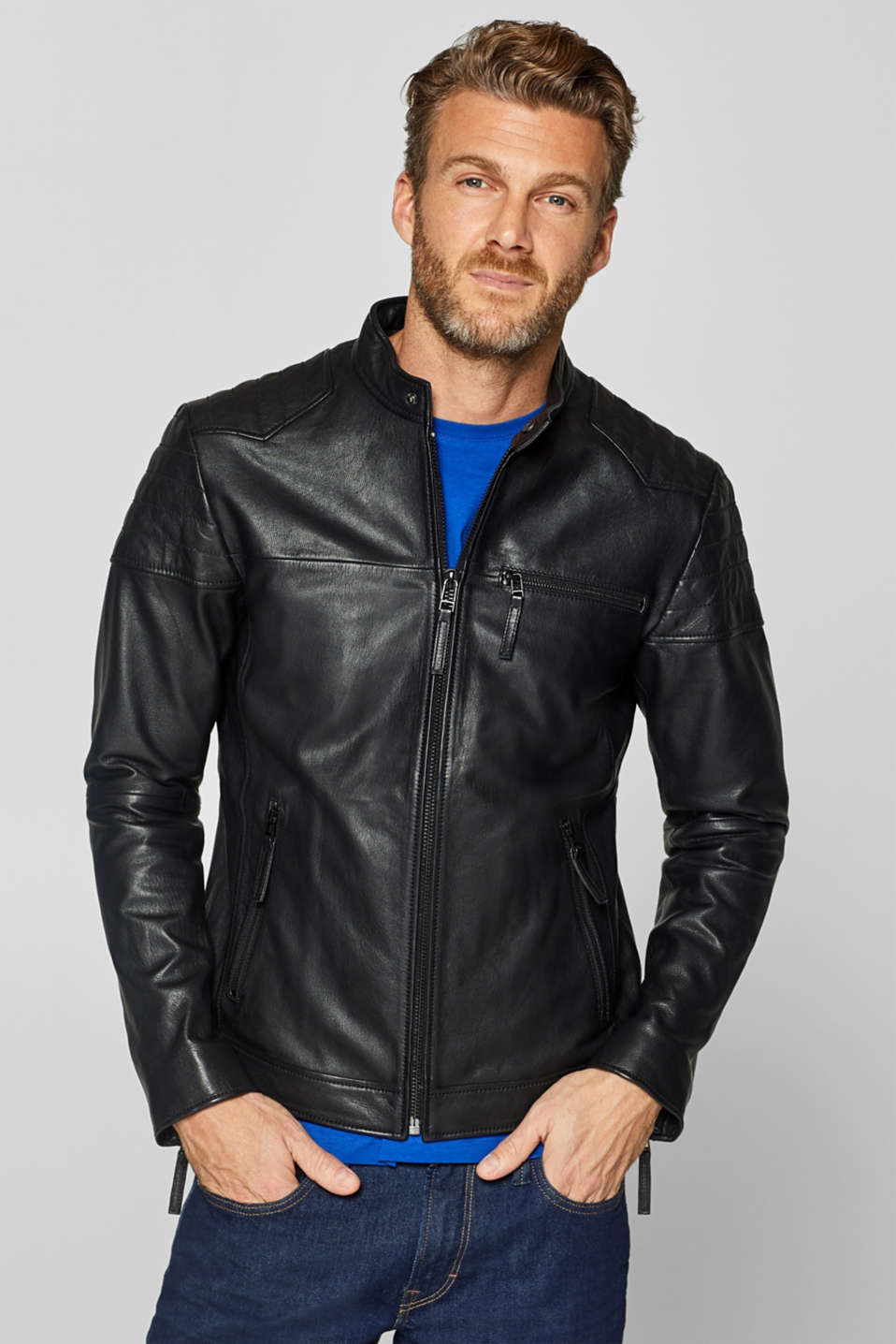 Esprit - Leather biker jacket