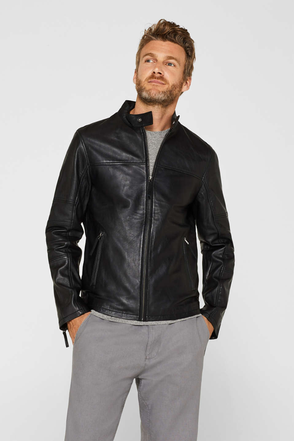 Esprit - Biker jacket made of nappa leather