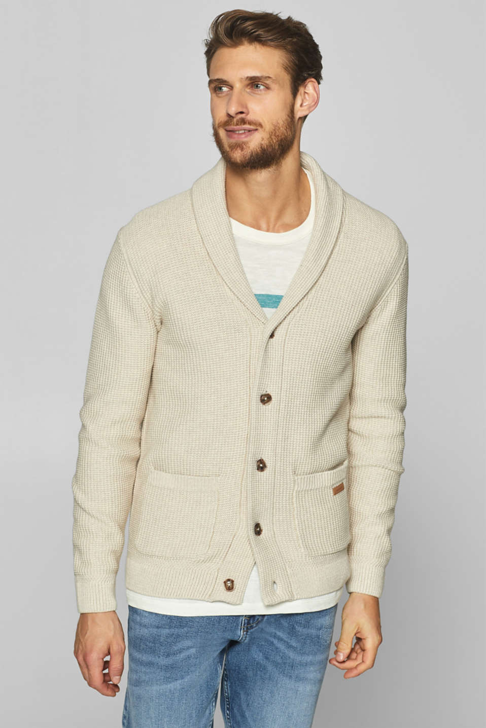 Esprit - Textured cardigan in 100% cotton