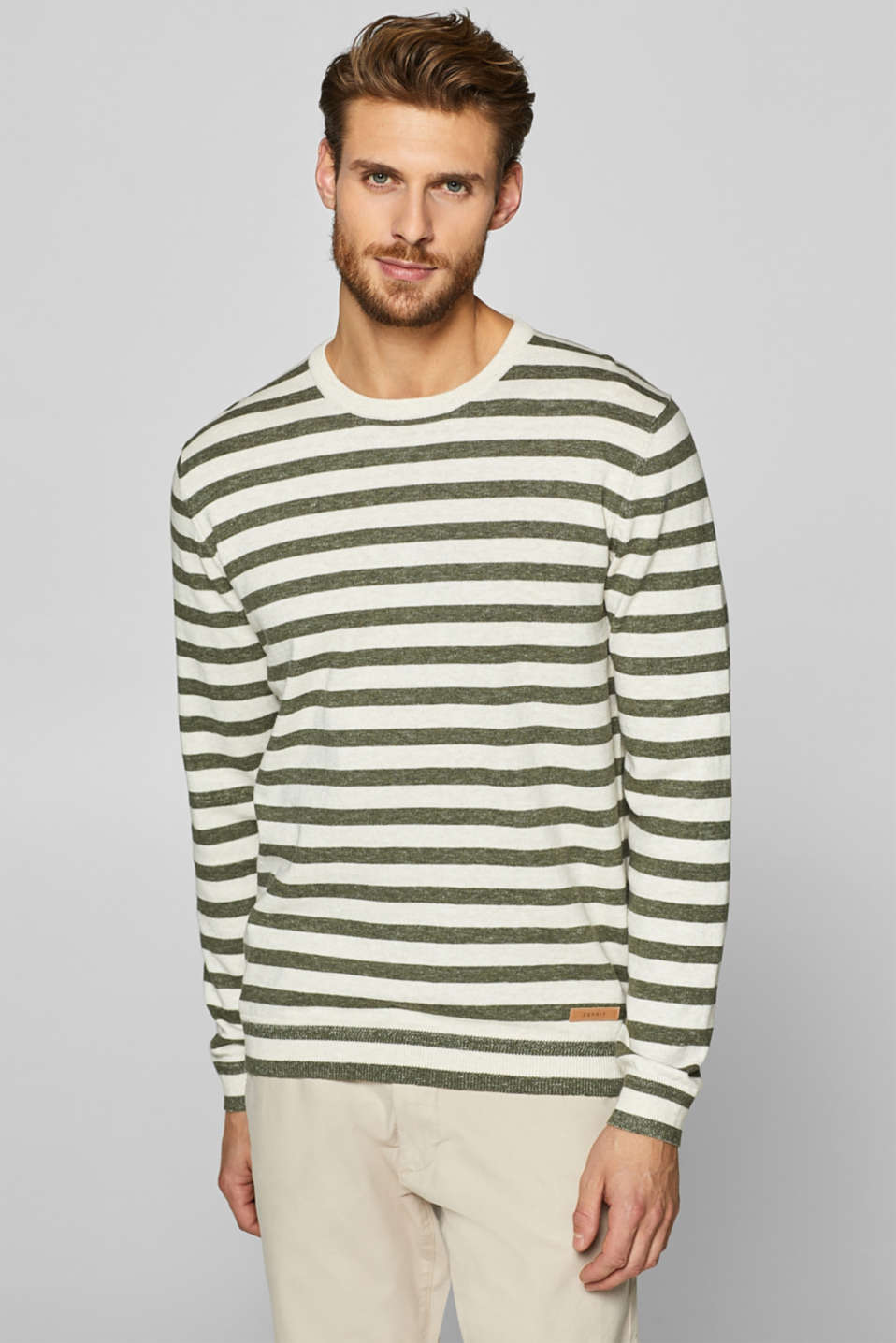Esprit - Jumper with stripes, 100% cotton