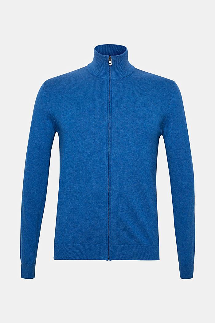 Cardigan mit Stehkragen, 100% Baumwolle, BLUE, detail image number 0