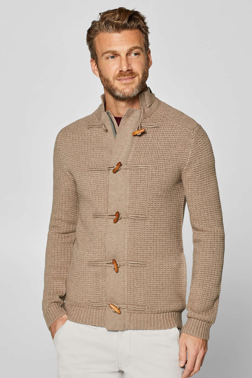 Esprit - Blended wool: textured knit cardigan