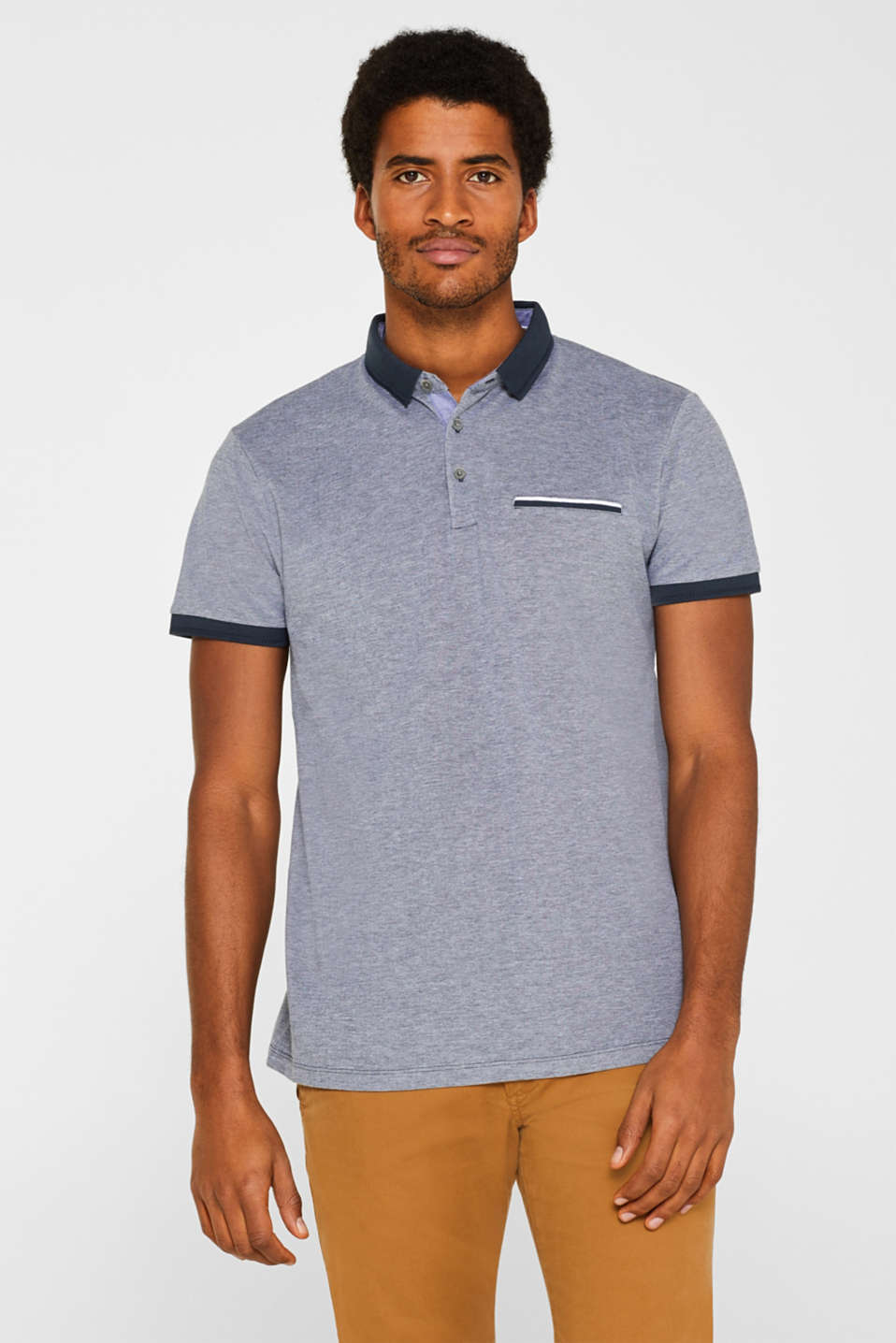 Esprit - Oxford piqué polo shirt in 100% cotton