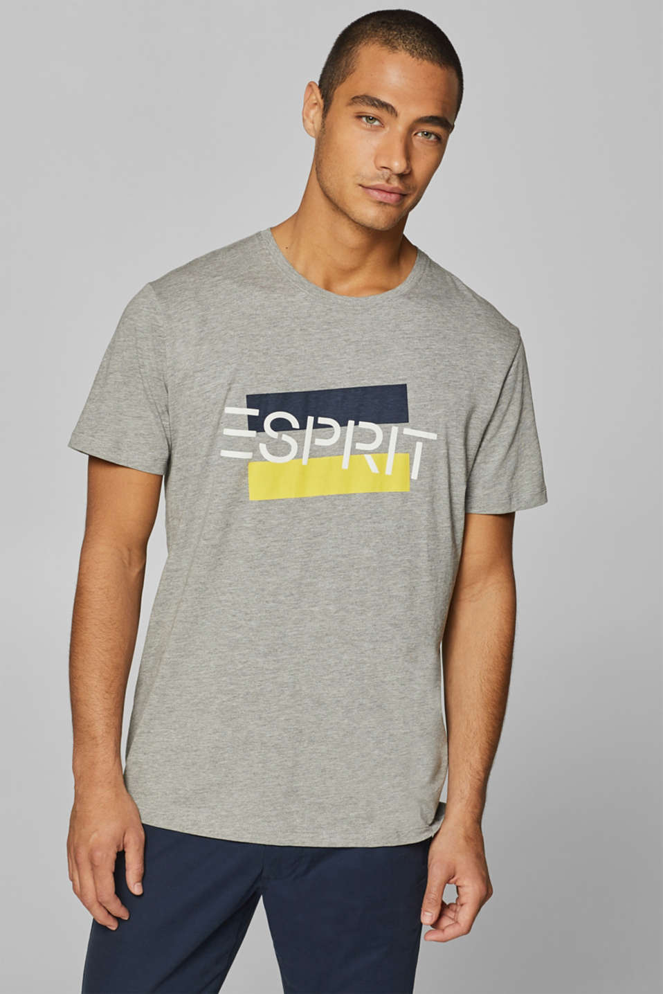 Esprit - Jersey shirt with logo print and organic cotton