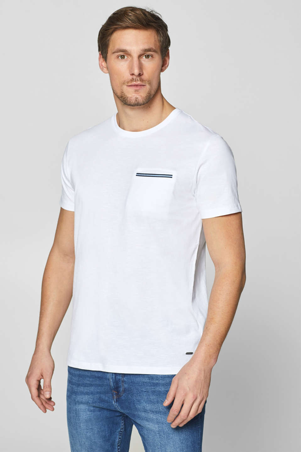 Esprit - Slub jersey T-shirt in 100% cotton