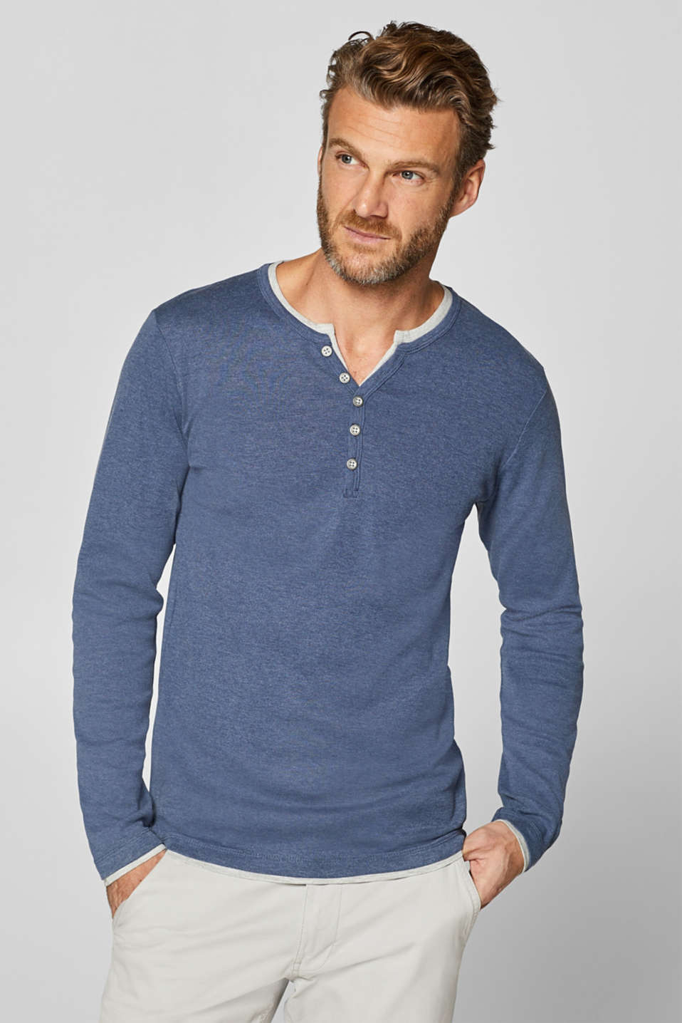Esprit - Jersey long sleeve top with a Henley neckline
