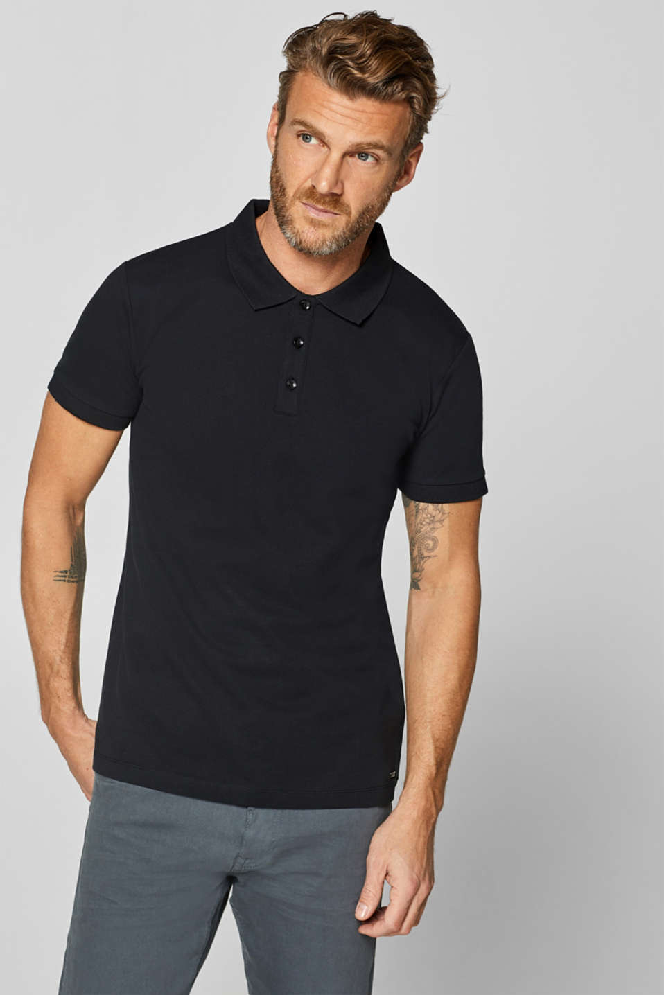 Esprit - Stretch cotton piqué polo shirt