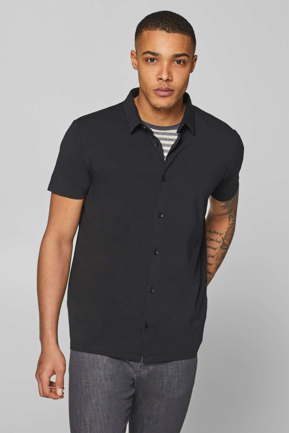 Esprit - Jersey top in a shirt style, stretch cotton