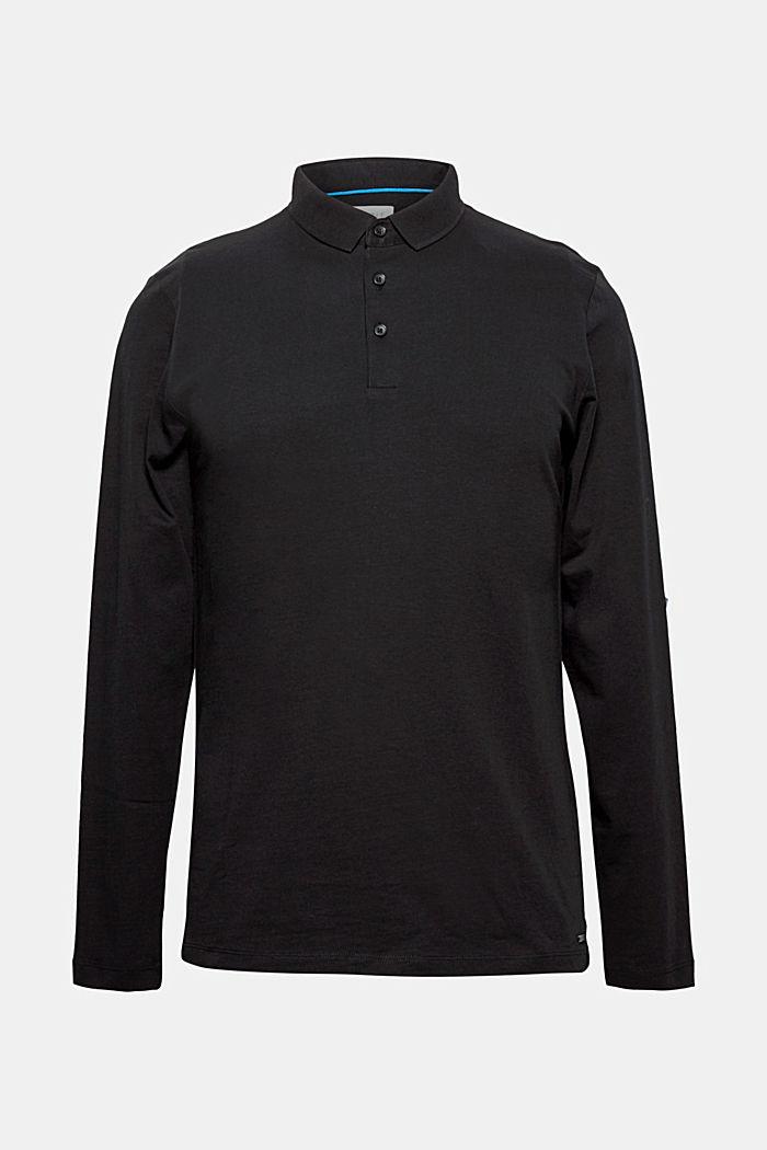 Polo-Longsleeve aus Baumwoll-Jersey, BLACK, detail image number 0