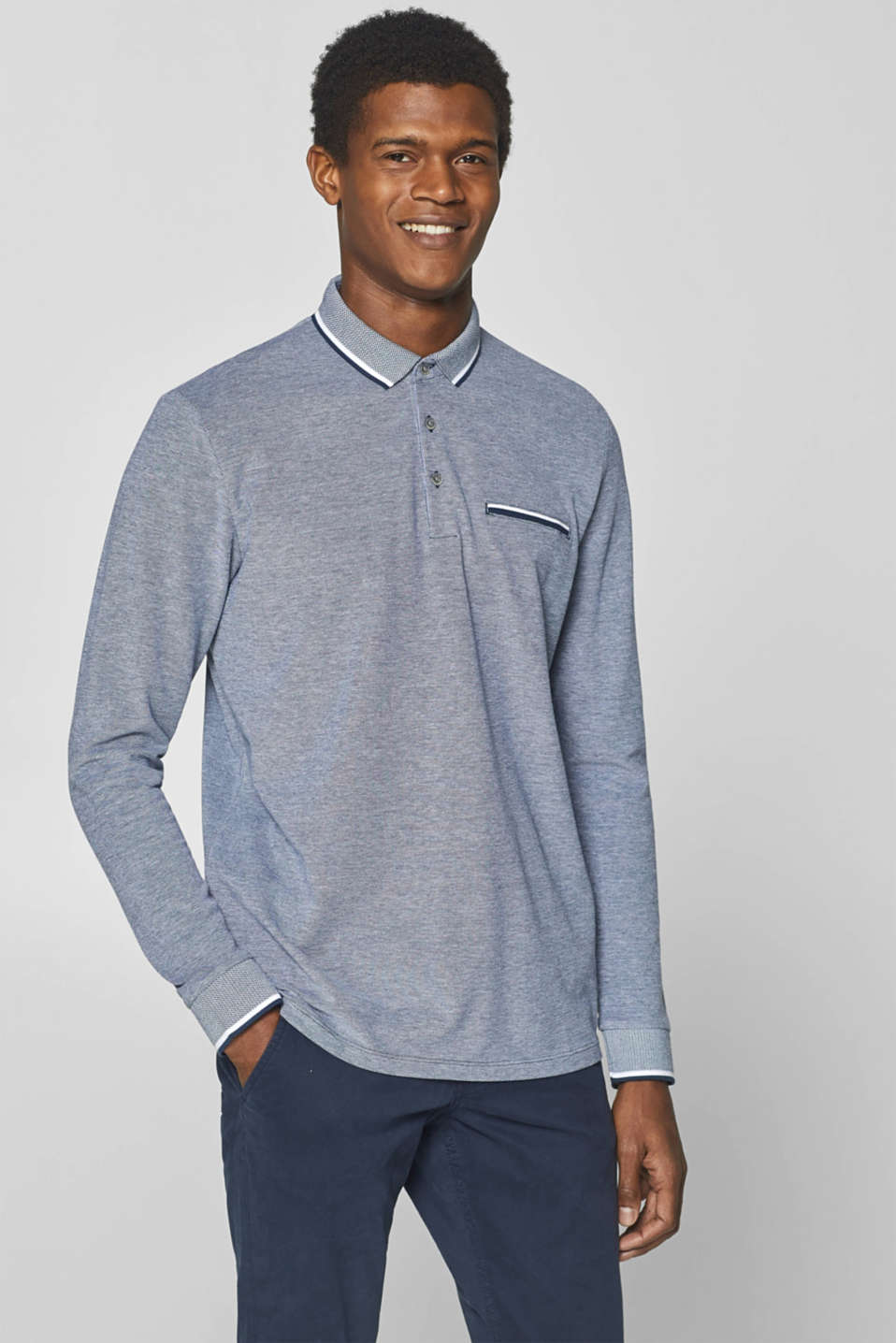 Esprit - Piqué long sleeve polo shirt in 100% cotton
