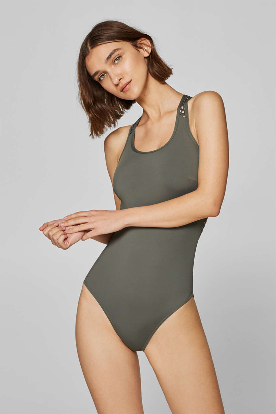Esprit - Sporty swimsuit with net details