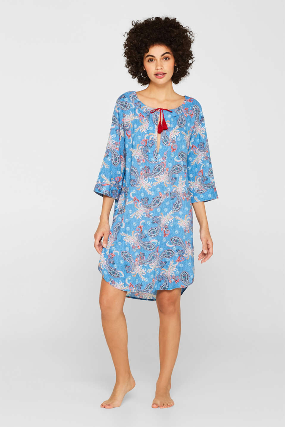 Tunic with a paisley print and tassels, DARK BLUE, detail